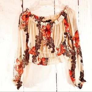 FOREVER 21 | Gypsy Ruffled Off Shoulder Crop Top S